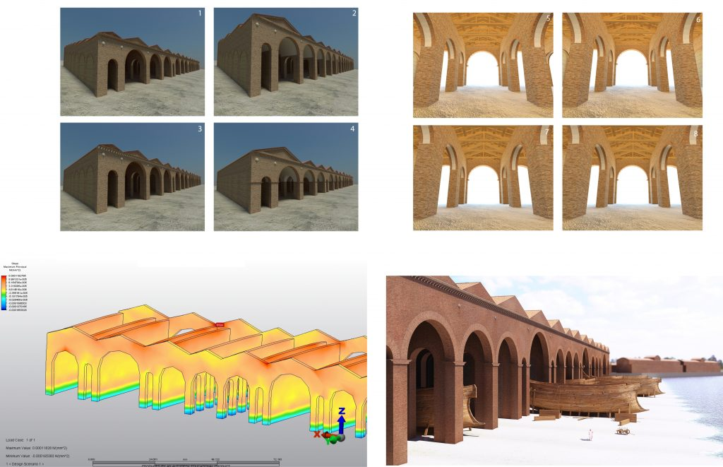 Clockwise from bottom left: Structural simulation of Building 5 (James Miles/ Portus Project); procedural model exterior; procedural model interior (Matthew Harrison/ Portus Project); graphic model (Grant Cox/ Portus Project)