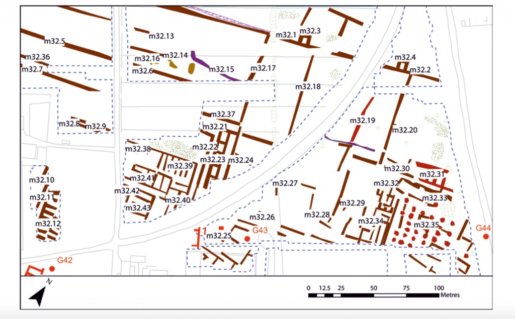 Warehouses and other buildings discovered in the geophysical survey of the southern part of the Isola Sacra facing Ostia