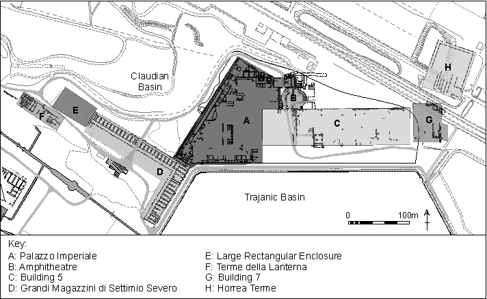 Plan showing the buildings excavated by the Portus Project between 2007 and 2020 (with the exception of the Horrea Terme).